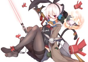 Rating: Safe Score: 169 Tags: aliasing animal bell bird book glasses gloves headphones original pantyhose red_eyes rerrere shackles star_wars sword tail touhou weapon User: Flandre93