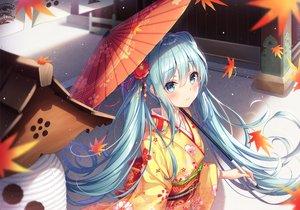Rating: Safe Score: 89 Tags: autumn dangmyo hatsune_miku japanese_clothes kimono twintails umbrella vocaloid User: Dreista