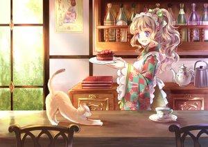 Rating: Safe Score: 64 Tags: animal apron blonde_hair book cat drink food fruit headband japanese_clothes long_hair momoko_(momoko14) original ponytail purple_eyes strawberry User: mattiasc02