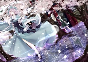 Rating: Safe Score: 74 Tags: 2girls blue_eyes butterfly cherry cherry_blossoms fan flowers food fruit gray_hair japanese_clothes kimono konpaku_youmu myon pink_eyes pink_hair ribbons saigyouji_yuyuko short_hair skirt sword touhou tree water weapon yume_koucha User: ガラス