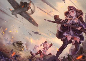 Rating: Safe Score: 166 Tags: aircraft anthropomorphism boots combat_vehicle girls_frontline gray_hair jay_xu kar98k_(girls_frontline) long_hair mg42_(girls_frontline) military red_eyes signed thighhighs twintails weapon white_hair User: RyuZU
