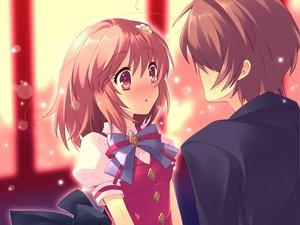 Rating: Safe Score: 90 Tags: blush brown_hair flyable_heart game_cg inaba_yui itou_noiji katsuragi_syo ribbons school_uniform short_hair User: Tensa