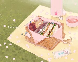 Rating: Safe Score: 25 Tags: animal butterfly cat drink food grass hakuchizu_(jedo) nobody original petals watermark User: otaku_emmy