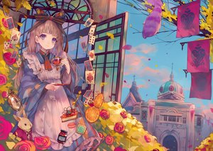 Rating: Safe Score: 65 Tags: alice_in_wonderland alice_(wonderland) animal blue_eyes bow brown_hair cake cha_goma cheshire_cat dress drink flowers food fruit long_hair orange_(fruit) original petals rabbit rose white_rabbit User: あかり