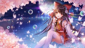 Rating: Safe Score: 123 Tags: applecaramel_(acaramel) bow brown_hair bubbles butterfly cherry_blossoms flowers hakurei_reimu japanese_clothes long_hair microphone miko moon petals red_eyes skirt thighhighs touhou water User: RyuZU
