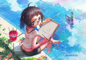 Rating: Safe Score: 72 Tags: animal aqua_eyes barefoot bird brown_hair duck food glasses ice_cream luode_huayuan original popsicle see_through short_hair shorts water User: RyuZU