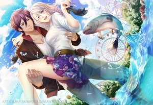 Rating: Safe Score: 29 Tags: animal blonde_hair clouds fish long_hair male necklace purple_eyes purple_hair short_hair skirt sky tagme_(artist) tree water watermark User: BattlequeenYume