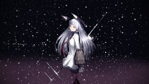 Rating: Safe Score: 124 Tags: anthropomorphism gray_hair kantai_collection long_hair murakumo_(kancolle) night orange_eyes pennel snow tie weapon User: FormX