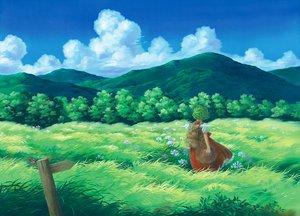 Rating: Safe Score: 85 Tags: clouds dress flowers grass green_hair hat kazami_yuuka landscape miso_pan scenic short_hair sky touhou umbrella User: C4R10Z123GT