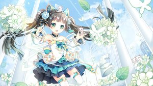 Rating: Safe Score: 39 Tags: animal ark_order black_hair bow butterfly cat cat_smile choker clouds dress flowers green_eyes gyaza jpeg_artifacts loli long_hair sky thighhighs twintails zettai_ryouiki User: BattlequeenYume