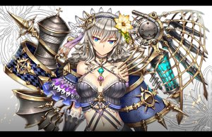 Rating: Safe Score: 100 Tags: aqua_eyes breasts choker cleavage gia gray_hair long_hair navel original signed User: SciFi