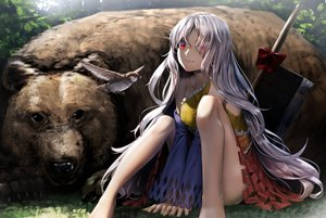 Rating: Safe Score: 69 Tags: animal barefoot bear bird dress gray_hair long_hair red_eyes ryosios sakata_nemuno sword touhou weapon User: luckyluna