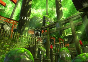 Rating: Safe Score: 45 Tags: building forest green nobody original pei_(sumurai) scenic shrine stairs torii tree User: Flandre93