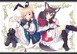 Rating: Safe Score: 67 Tags: 2girls animal_ears blonde_hair boots bow brown_hair bunny_ears cape catgirl drink foxgirl green_eyes hoodie kneehighs long_hair misaki_yuu original tail User: RyuZU