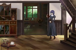 Rating: Safe Score: 51 Tags: book kinoto_(ruindivinity) kuonji_alice mahou_tsukai_no_yoru phone purple_eyes purple_hair short_hair stairs User: Dust