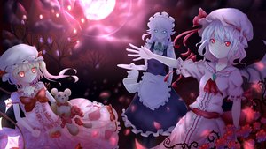 Rating: Safe Score: 62 Tags: apron blonde_hair blue_eyes bow braids doll flandre_scarlet flowers gray_hair hat headdress izayoi_sakuya maid moon night petals ponytail red_eyes remilia_scarlet ribbons short_hair shouiti sky teddy_bear touhou tree vampire wings User: Zolxys