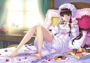 Rating: Safe Score: 79 Tags: barefoot bed bloomers briska brown_hair cherry flowers food fruit hat long_hair original pajamas petals purple_eyes rose strawberry User: FormX