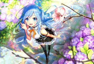 Rating: Safe Score: 78 Tags: aqua_eyes aqua_hair ayamori_mimi blush cherry_blossoms emori_miku emori_miku_project flowers long_hair skirt thighhighs zettai_ryouiki User: Fepple