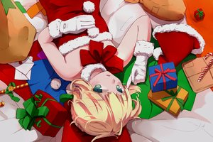 Rating: Safe Score: 78 Tags: artoria_pendragon_(all) blonde_hair christmas fate_(series) fate/stay_night gloves green_eyes hat magicians saber santa_costume santa_hat User: Maboroshi