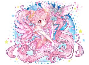 Rating: Safe Score: 50 Tags: aliasing aura_kingdom bow feathers gloves long_hair mingarts pink_hair pointed_ears red_eyes stars wand wings User: MiniMing
