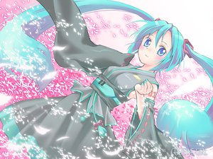 Rating: Safe Score: 33 Tags: aqua_hair blue_eyes cherry_blossoms dobato flowers hatsune_miku long_hair twintails vocaloid User: naikoto