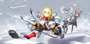 Rating: Safe Score: 71 Tags: aegis blonde_hair blue_eyes chain green_hair group labrys mechagirl metis observerz persona_q ponytail red_eyes shadow_labrys short_hair signed weapon User: Flandre93