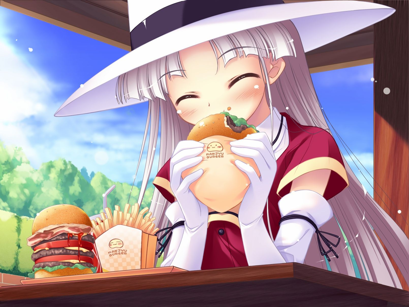 elbow_gloves food gloves gray_hair happiness hat long_hair shikimori_ibuki sky