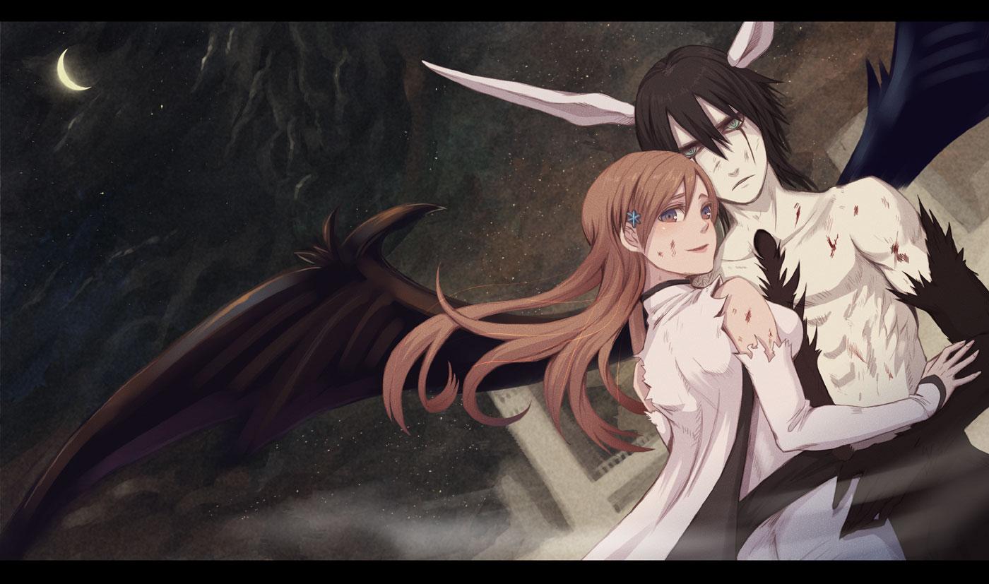 bleach fujimaru horns inoue_orihime male moon torn_clothes ulquiorra_schiffer wings