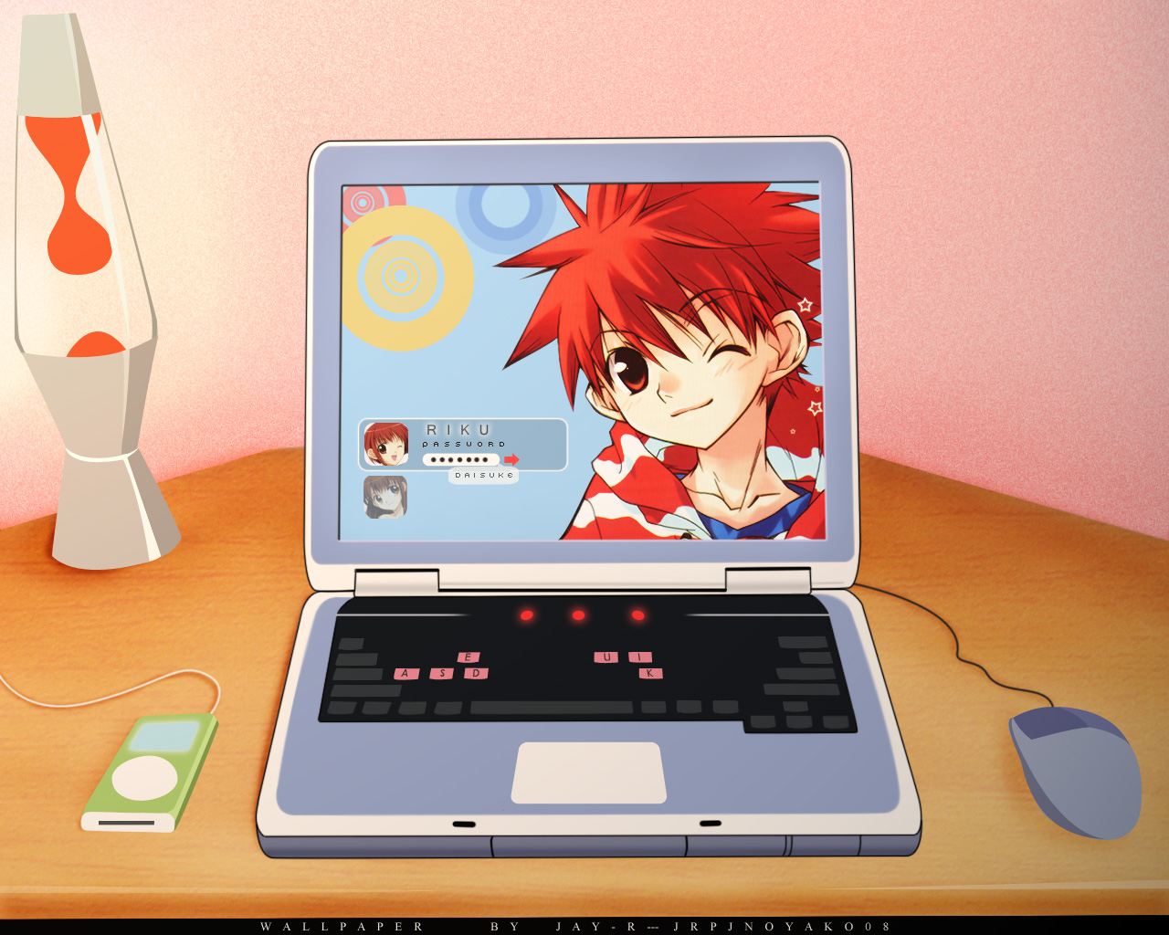 computer dnangel harada_riku harada_risa ipod niwa_daisuke red_eyes red_hair wink