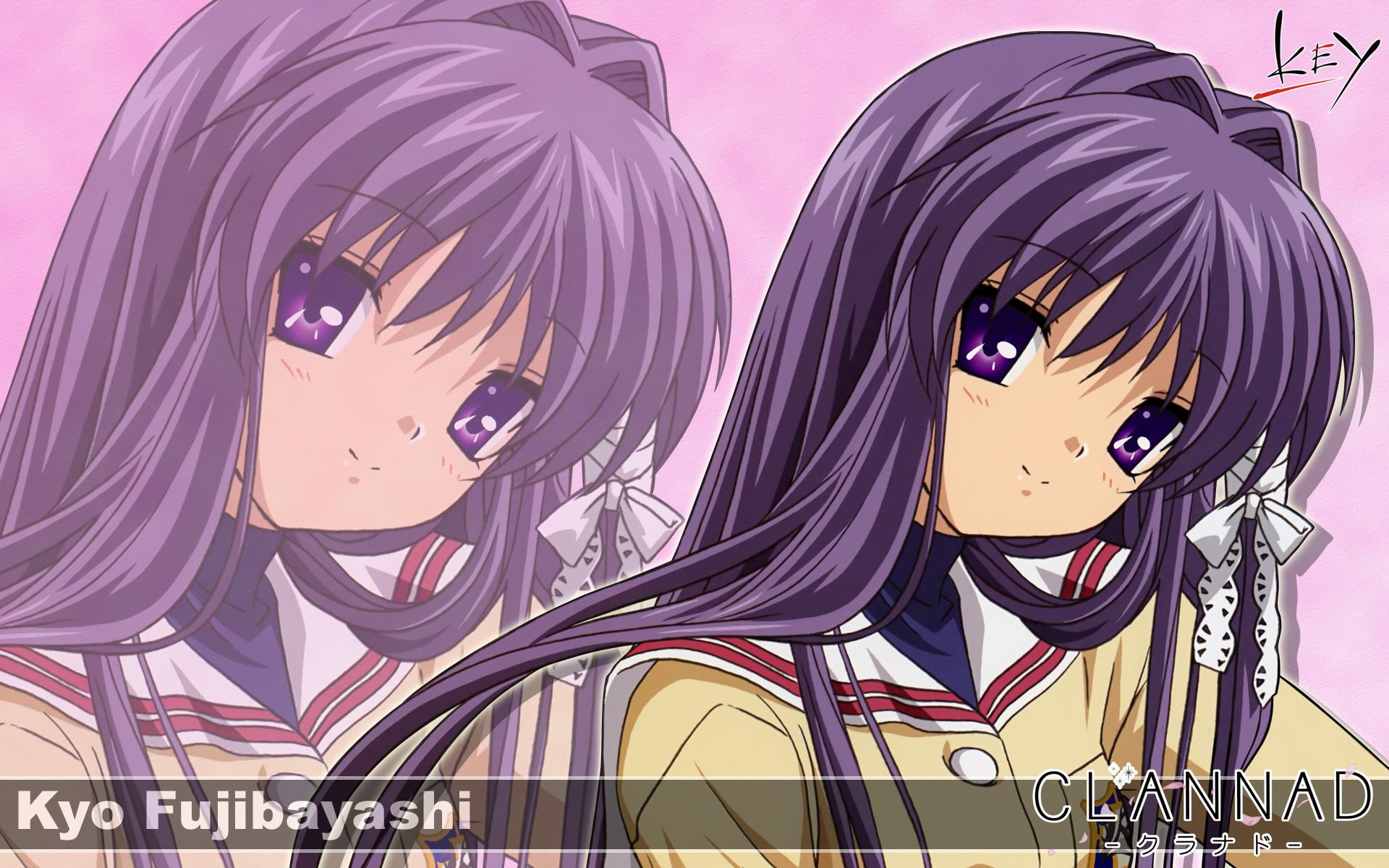 clannad fujibayashi kyou key logo long hair purple eyes ...