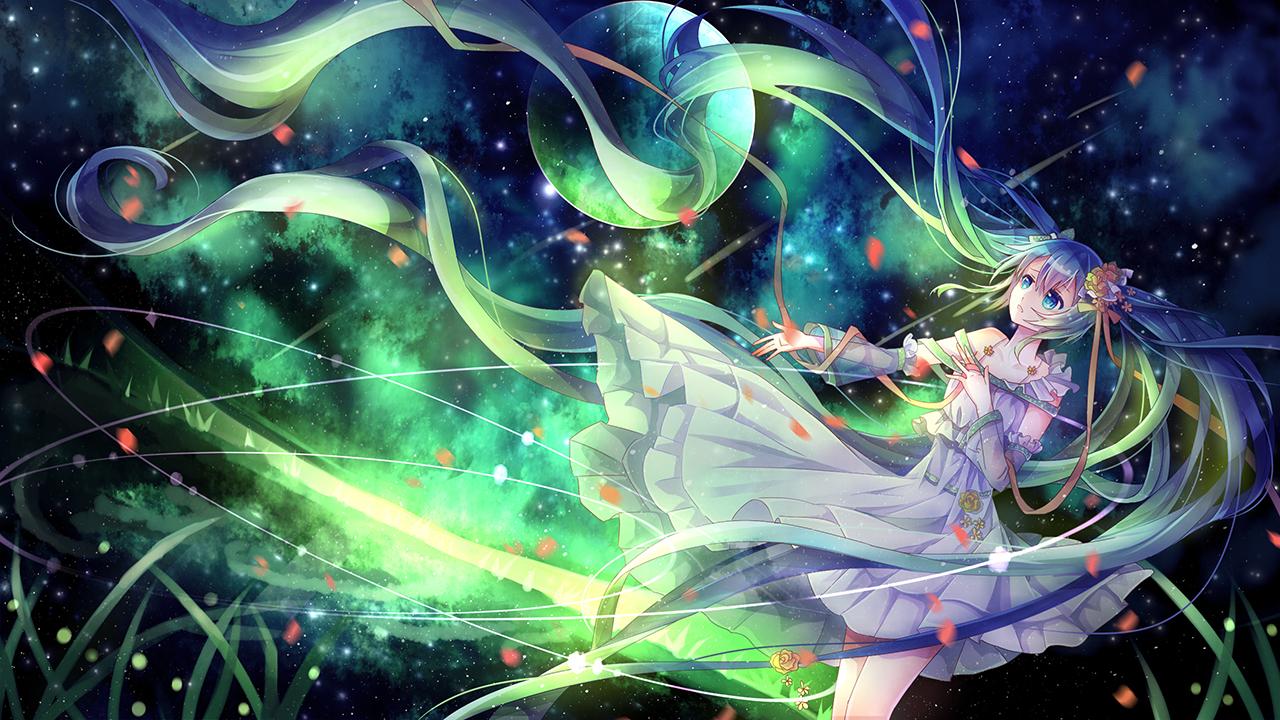aqua_eyes dress green_hair hatsune_miku long_hair vocaloid yasato