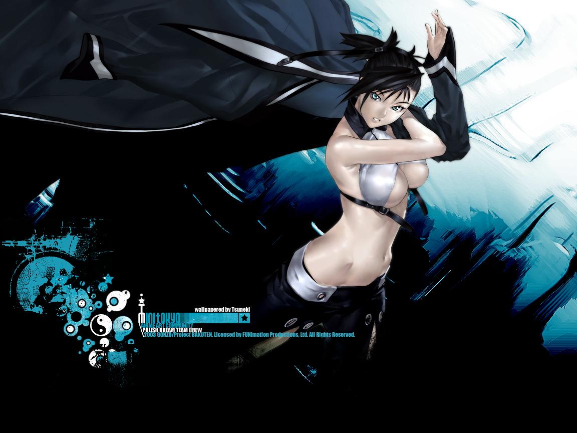 bakuretsu_tenshi black_hair blue_eyes breasts cleavage hakua_ugetsu navel sei underboob watermark