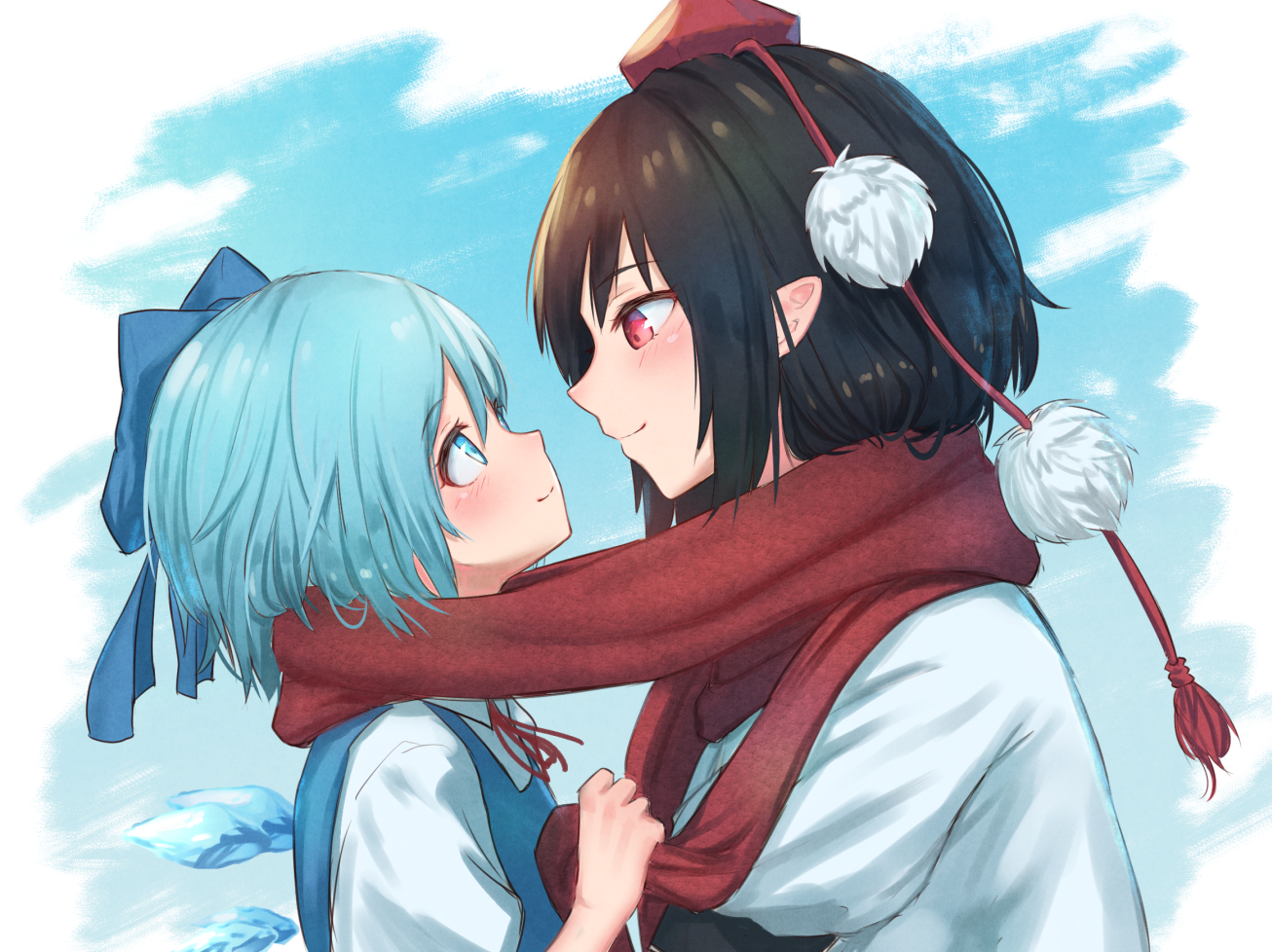 2girls aqua_eyes aqua_hair black_hair blush bow cirno fairy hat loli pointed_ears red_eyes roke_(taikodon) scarf shameimaru_aya short_hair shoujo_ai touhou wings