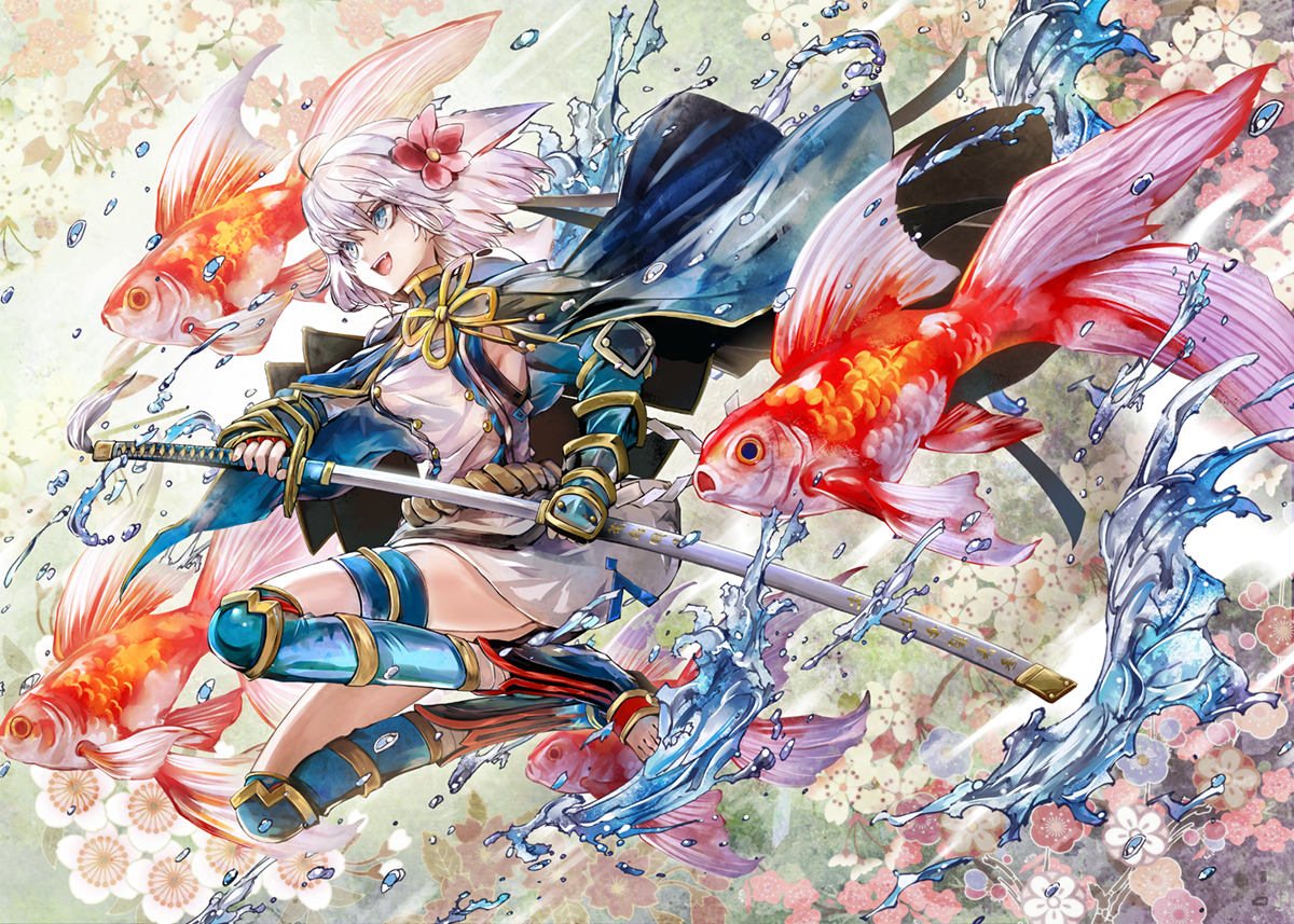 animal blue_eyes cape fish flowers gray_hair katana kozou_(soumuden) original short_hair sword weapon