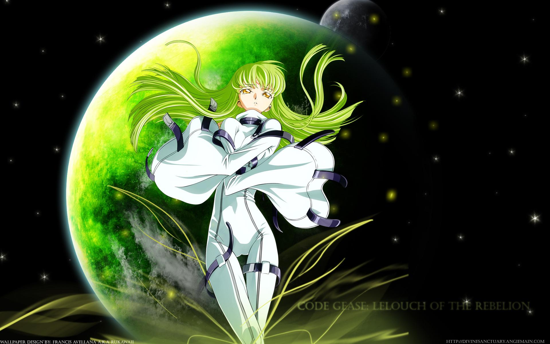 black cc code_geass green_hair long_hair moon planet skintight space stars tagme_(artist) watermark yellow_eyes