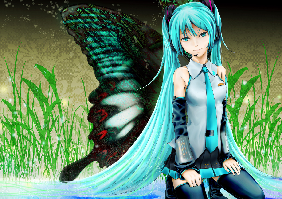 butterfly hatsune_miku twintails vocaloid