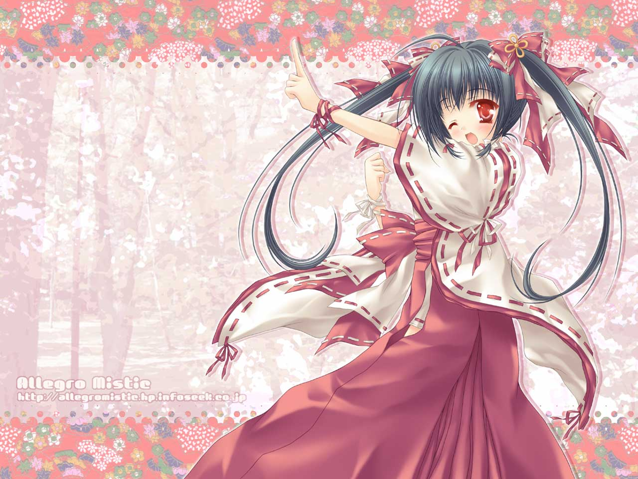 black_hair japanese_clothes long_hair miko red_eyes ribbons twintails