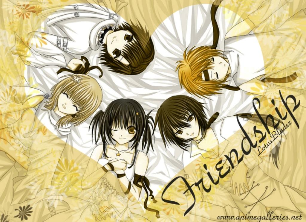 black_hair blonde_hair brown_eyes brown_hair collar dress flowers group ribbons short_hair yellow_eyes