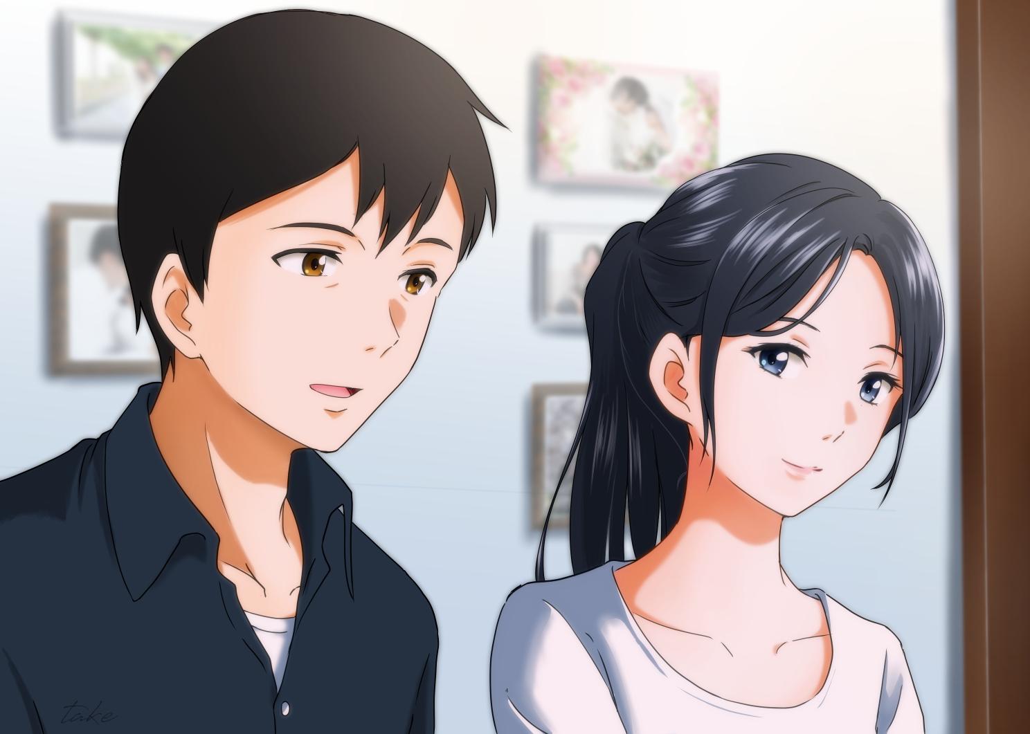 amano_hina black_hair blue_eyes brown_eyes male morisaki_hotaka ponytail short_hair tenki_no_ko user_rtsg2375