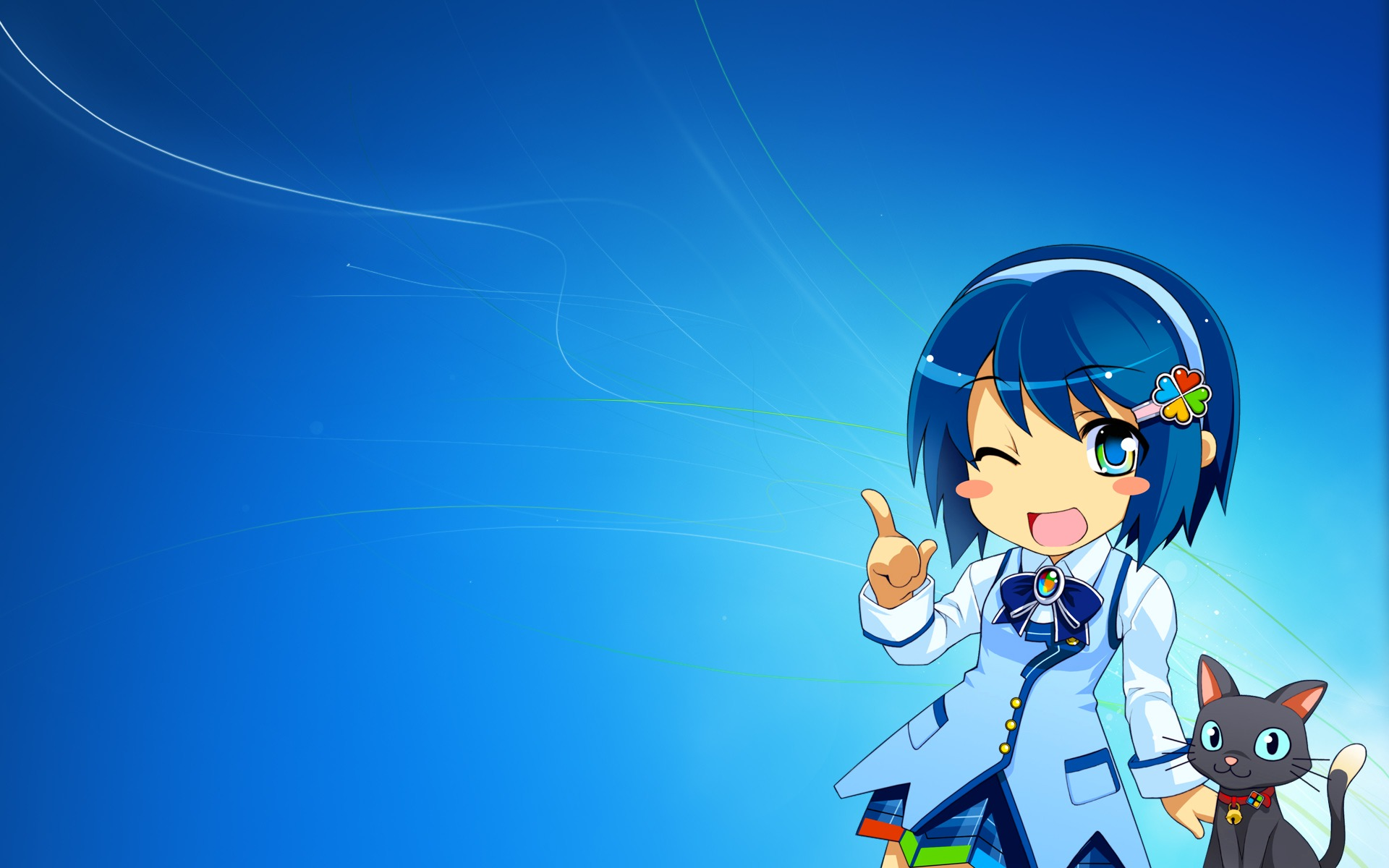 animal blue blue_eyes blue_hair bow cat headband madobe_nanami microsoft os-tan short_hair skirt windows wink