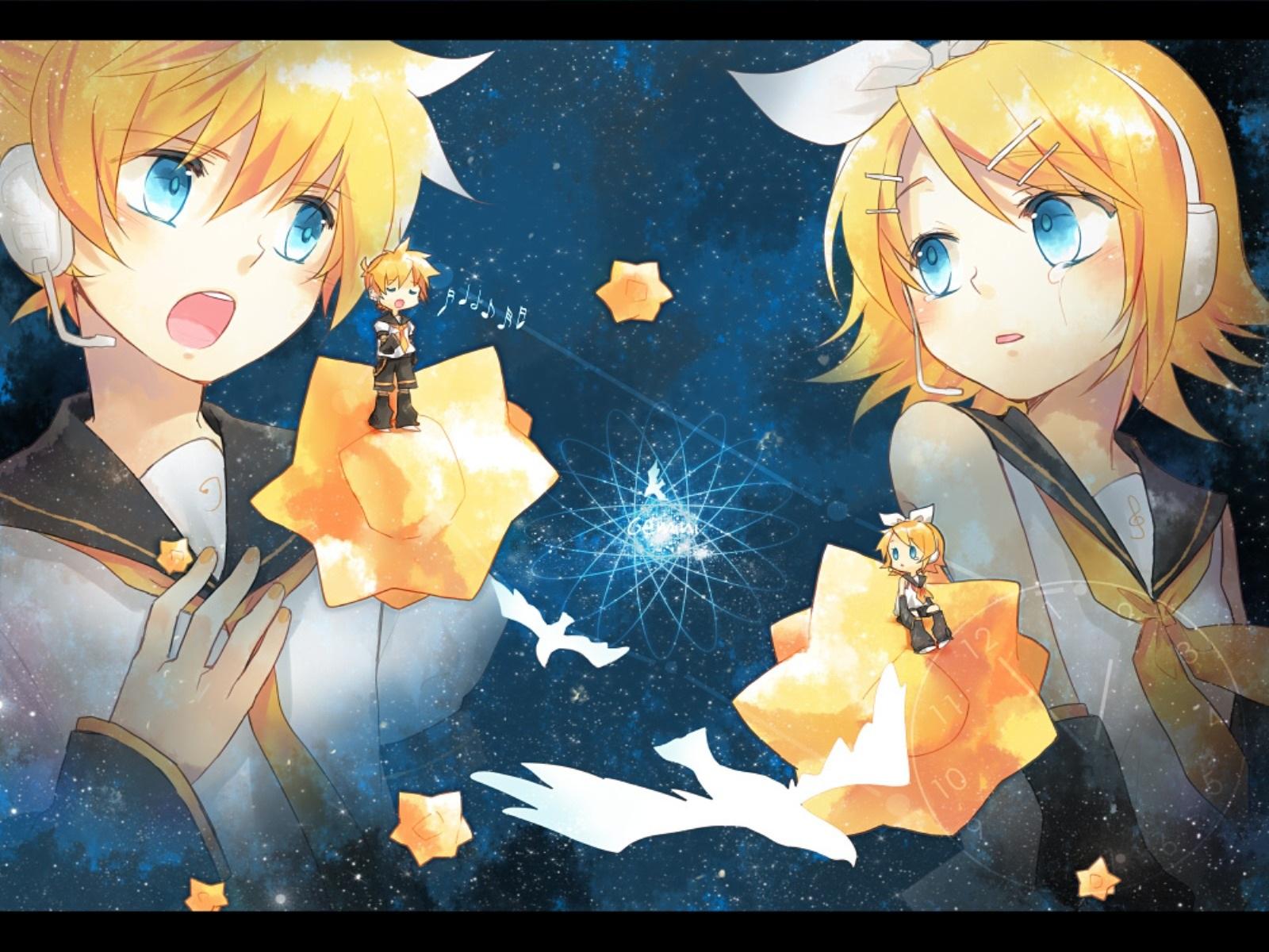blonde_hair blue_eyes chibi headphones kagamine_len kagamine_rin male renta_(deja-vu) short_hair shorts space stars tears vocaloid