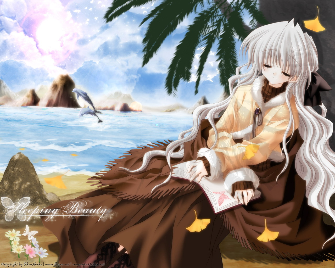 animal autumn beach book dolphin flowers long_hair re-laive sakurazawa_izumi serizawa_aoi sleeping white_hair