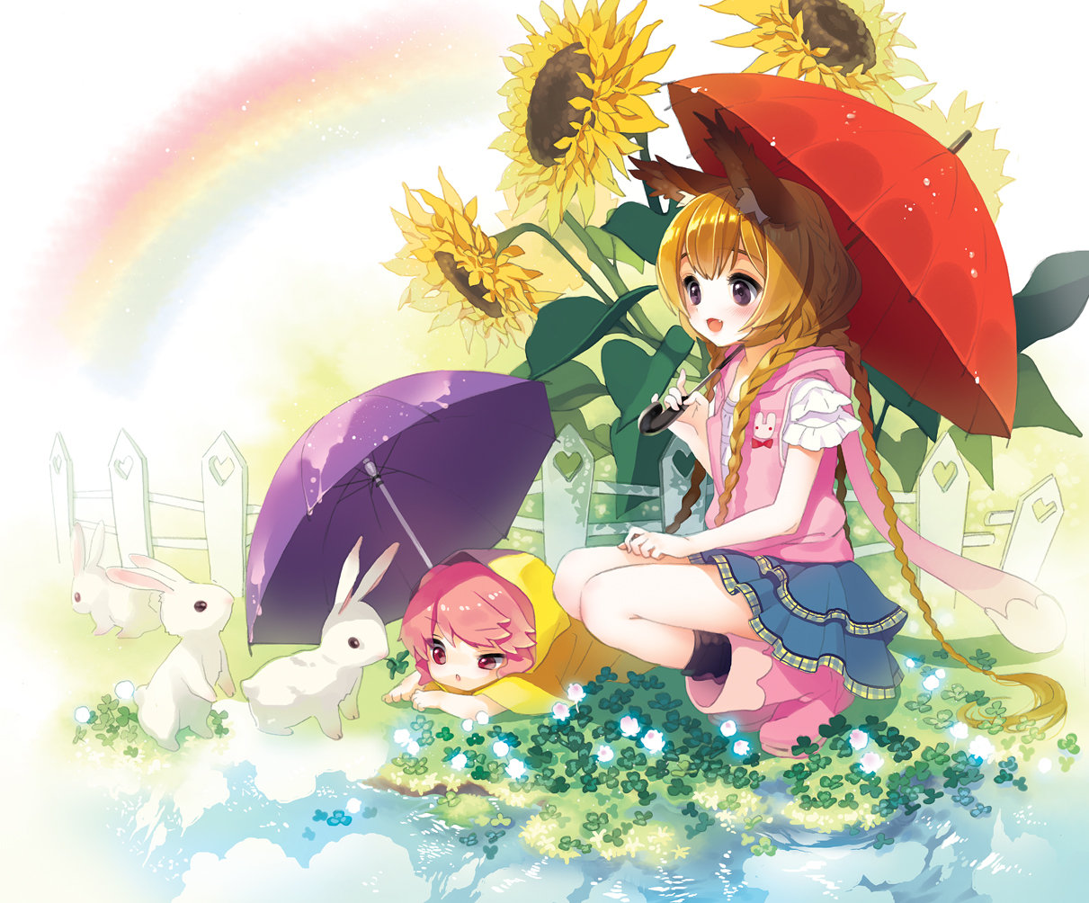 2girls animal animal_ears braids brown_hair cherrypin flowers loli long_hair original pink_eyes pink_hair purple_eyes rabbit rainbow sunflower umbrella