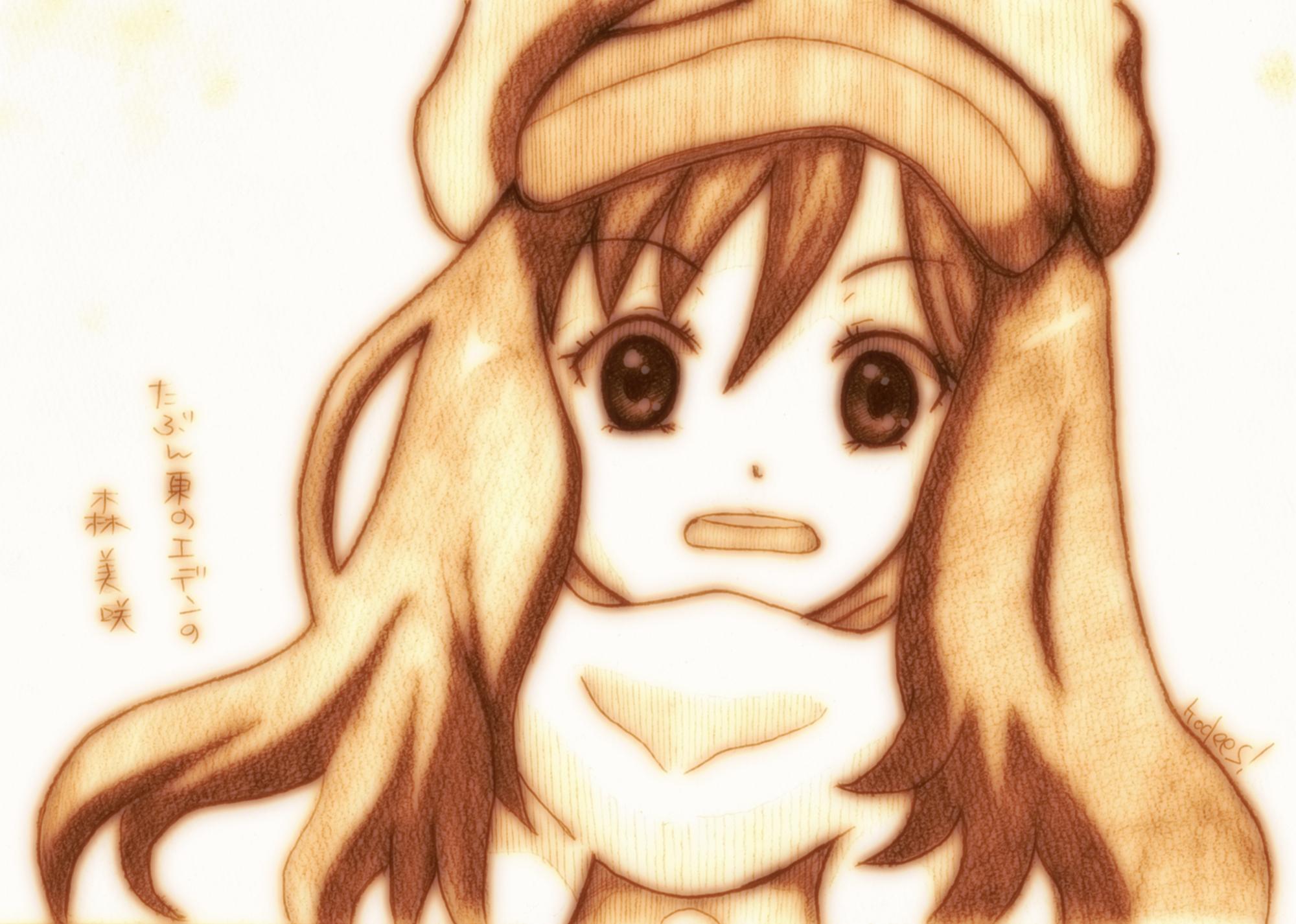 godees higashi_no_eden monochrome morimi_saki