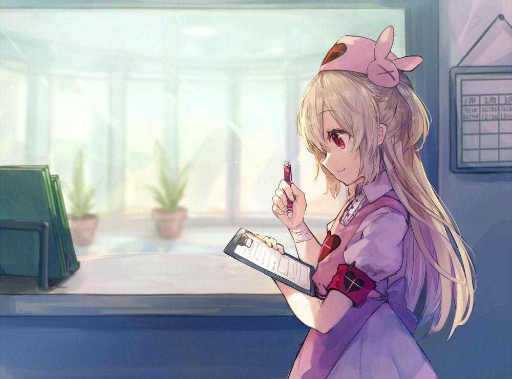apron bandage blonde_hair dress headdress loli long_hair natori_sana nurse paper red_eyes roll_okashi sana_channel wristwear