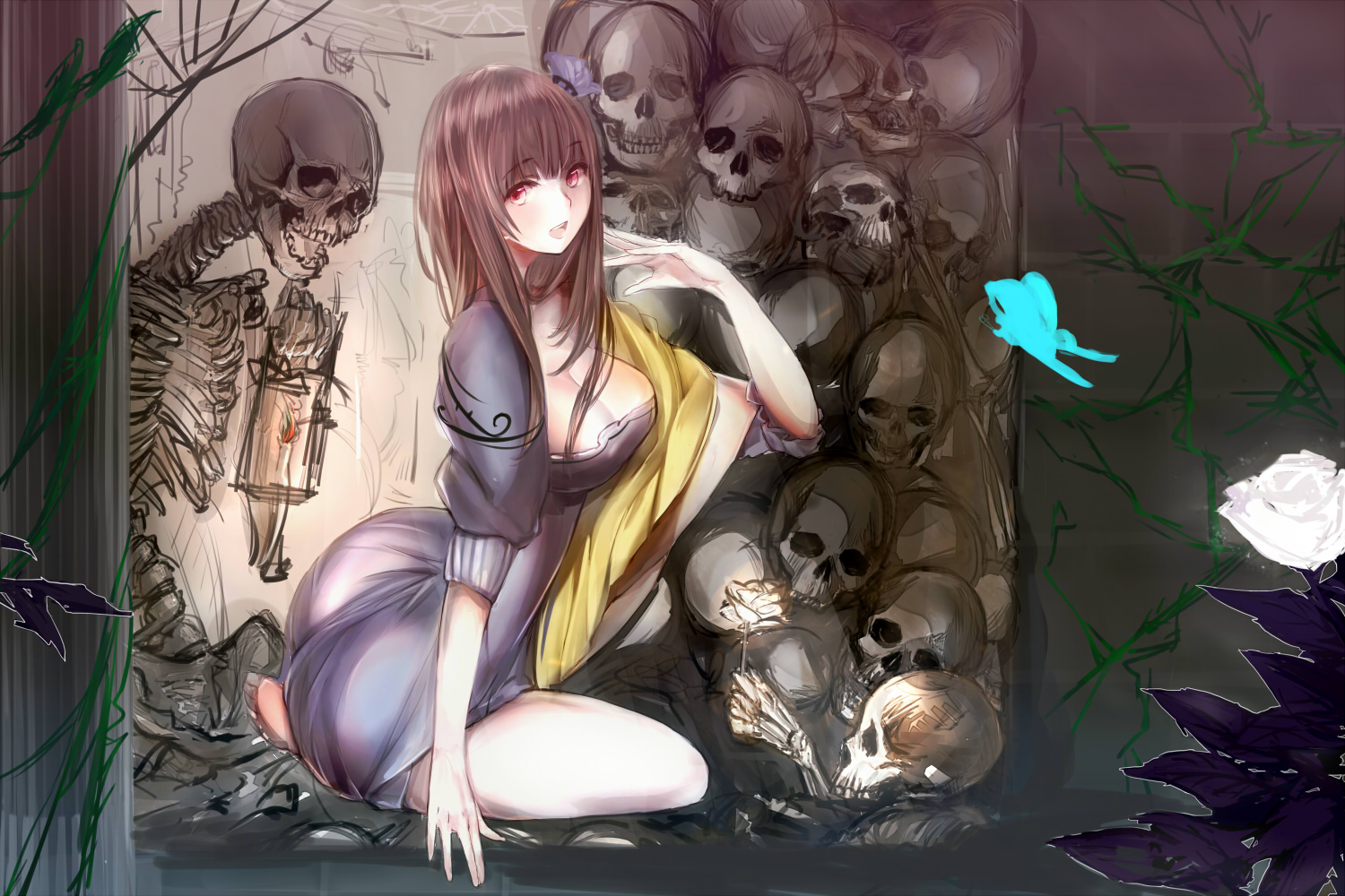 black_hair butterfly cleavage dress flowers long_hair original red_eyes skull syozui