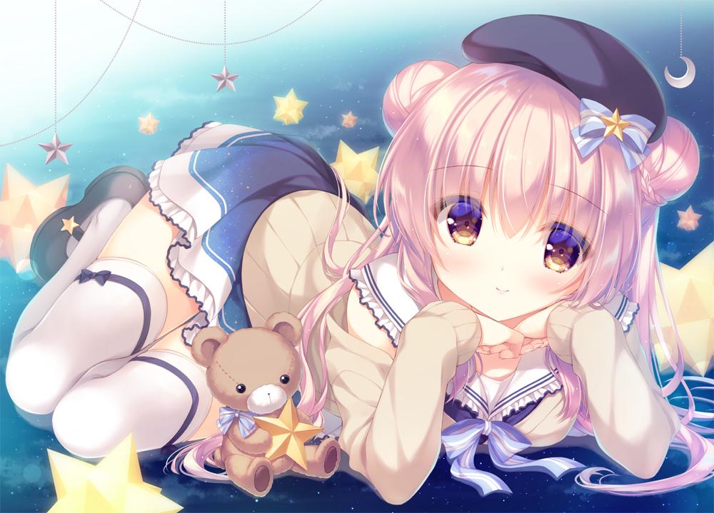 hat original pink_hair school_uniform skirt teddy_bear thighhighs yellow_eyes yukie zettai_ryouiki