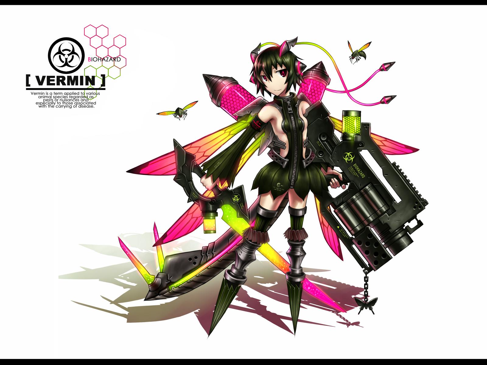 anthropomorphism black_hair butterfly gia gun original red_eyes short_hair sideboob skirt sword tail weapon white wings