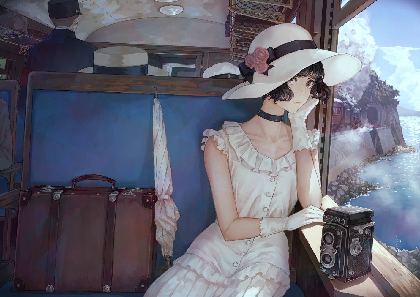black_eyes black_hair camera choker clouds dress gloves hat lolita_fashion original short_hair sky train umbrella water yasukura_(shibu11)