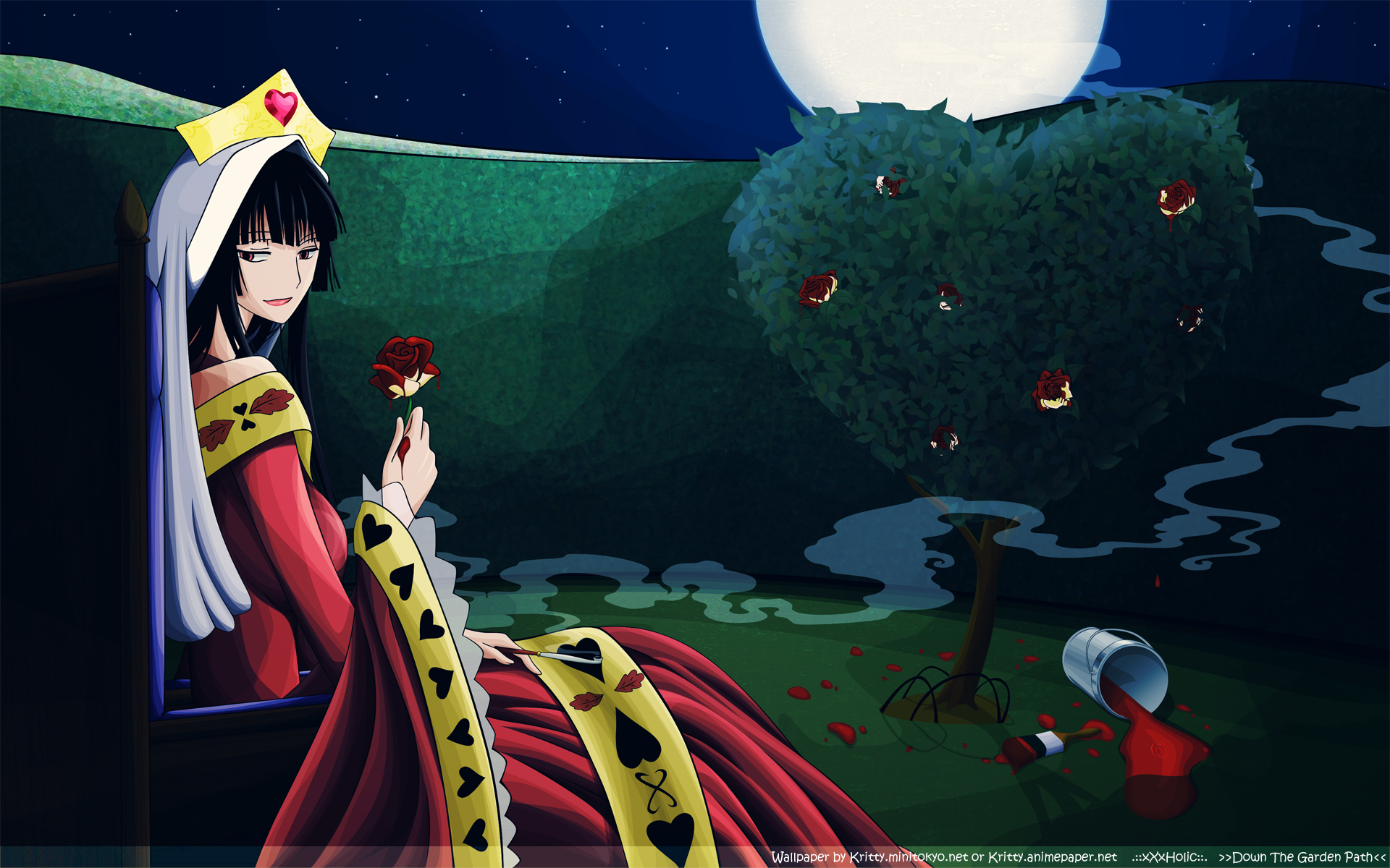 black_hair clamp flowers ichihara_yuuko long_hair moon red_eyes stars xxxholic
